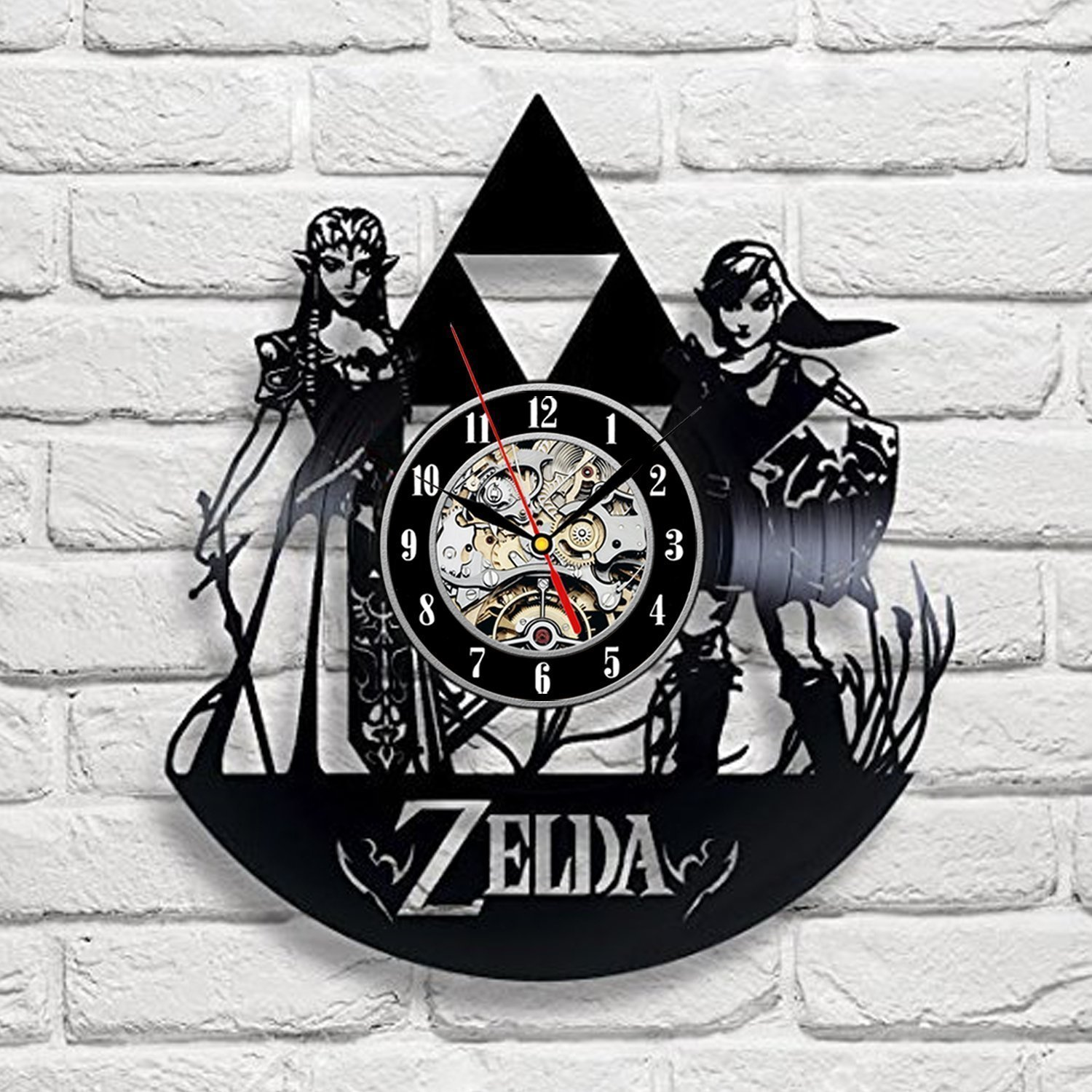 Shop amazon wall clocks zelda art vinyl wall clock gift room modern home record vintage decoration amipublicfo Gallery