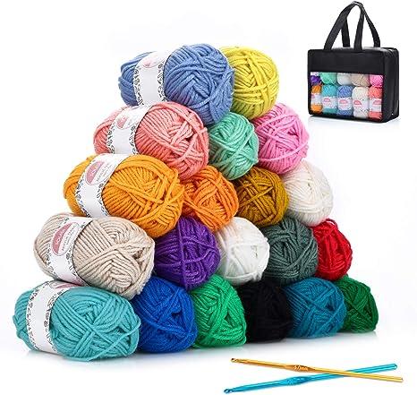 Hilo Acrílico SOLEDI lana prémium ovillos de hilo para tejer, perfecto para DIY y tejer a mano, con gratis ganchillo y bolsa de almacenamiento (25 g * 20 colores): Amazon.es: Hogar
