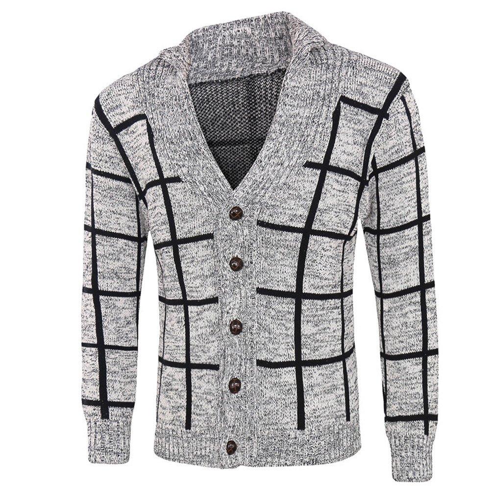 Men's Jacket for Men Winter Warm Sweater Fashion Plaid Knit Buttons Cardigan Coat,Top Coat (L,Gray)