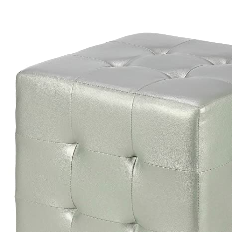 Astonishing Amazon Com Faux Leather Ottoman Cube Silver Metallic Gmtry Best Dining Table And Chair Ideas Images Gmtryco