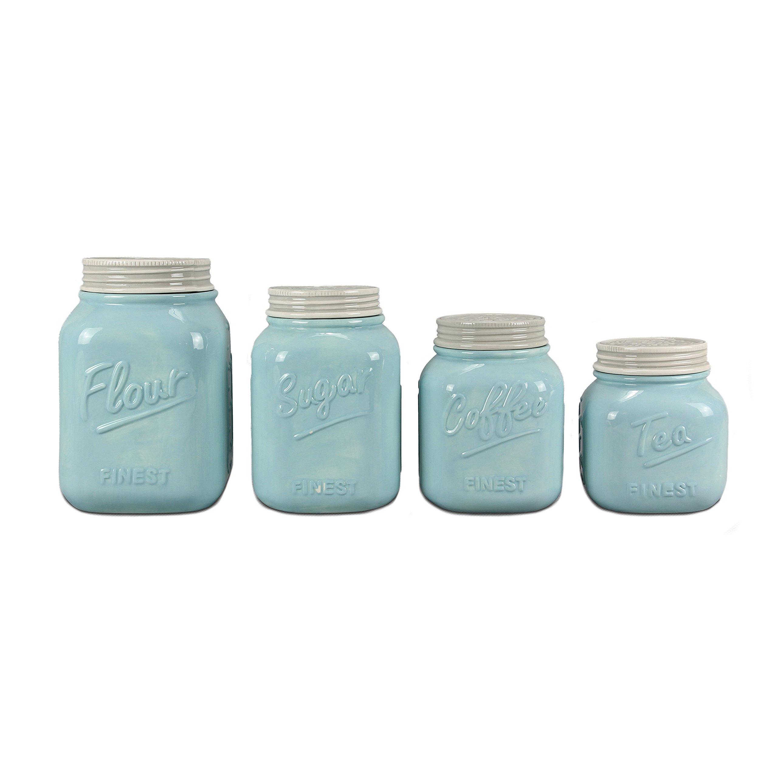 Blue Ceramic Mason Jar Canister Set (Set of 4) by ZallZo by Zallzo