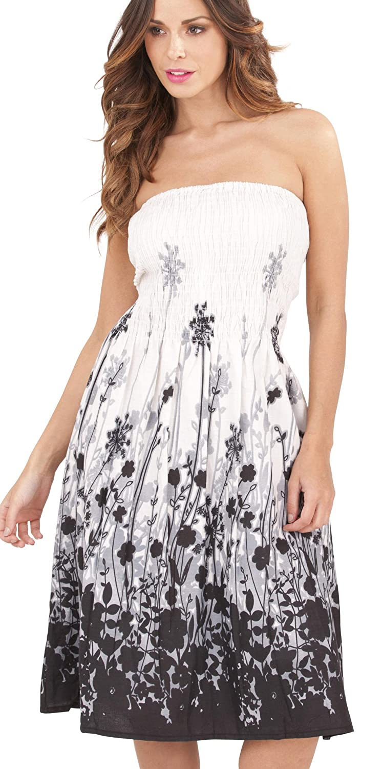 Ladies 100% Cotton Dandelion Print 3 in 1 Bandeau/Halter Summer Dress/Maxi Skirt, White/Black Small Dannii Matthews d749