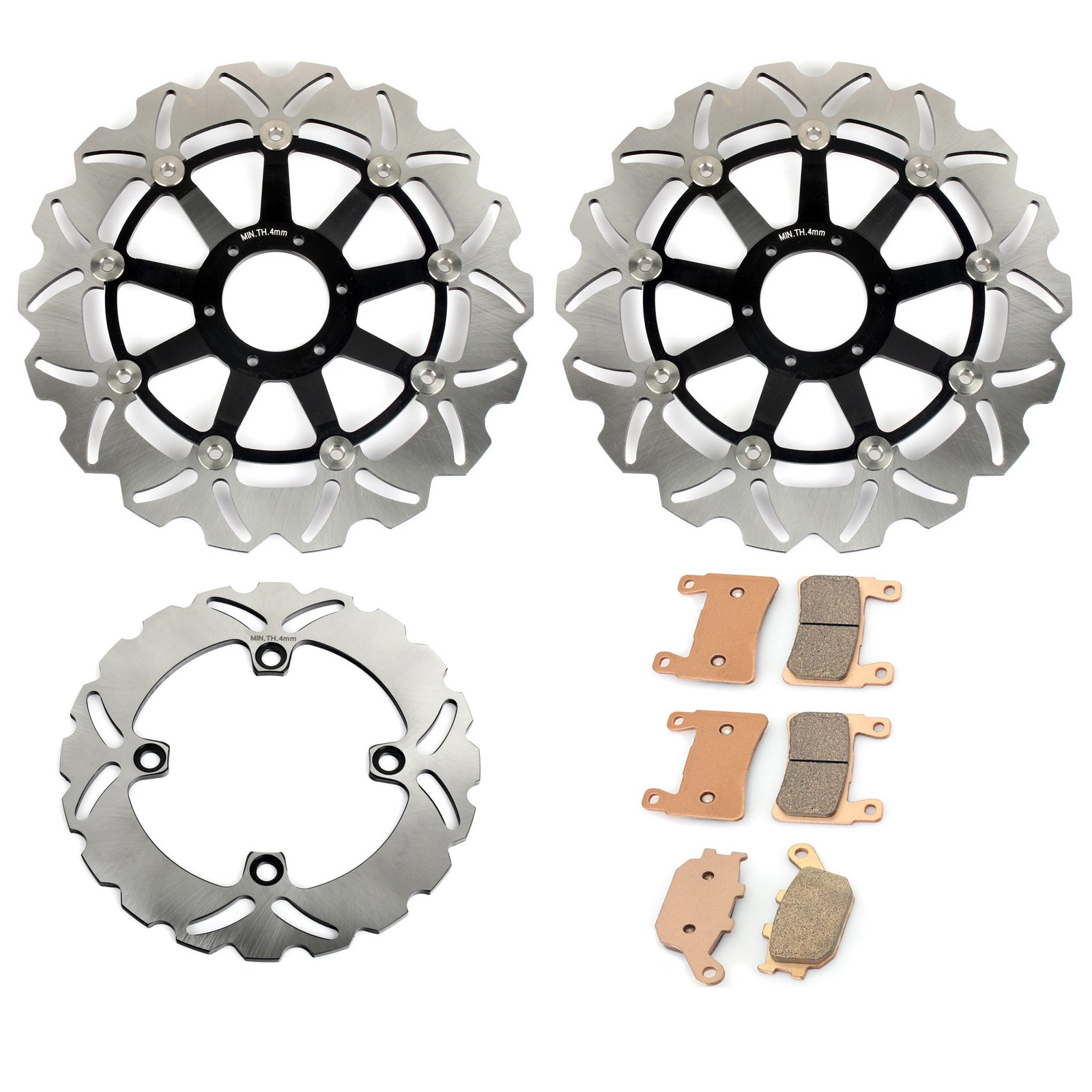 TARAZON Front Rear Brake Rotors + Pads for Honda CBR600F4 Supersport F4 1999 2000