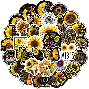 Sunflower Stickers, 50pcs, Sunflower Vine Themed You are My Sunshine Vinyl Waterproof Stickers for Hydroflasks, Laptop, Skateboard, Water Bottles, Computer, Car. Sunflower