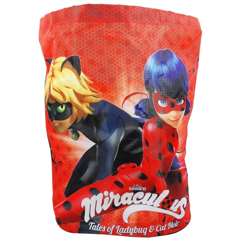 Ladybug ET Chat Noir Defenders - Sac à Dos avec Deux Cordons et Fond Rond - pour Le Temp Libre - Couleur Rouge