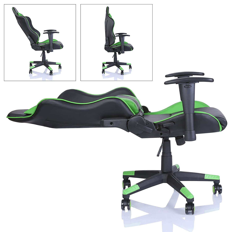TRESKO Sedia da ufficio Poltrona ufficio Versione Racer Gaming 6 colori differenti meccanismo inclinazione schienale regolabile infinitamente Nero