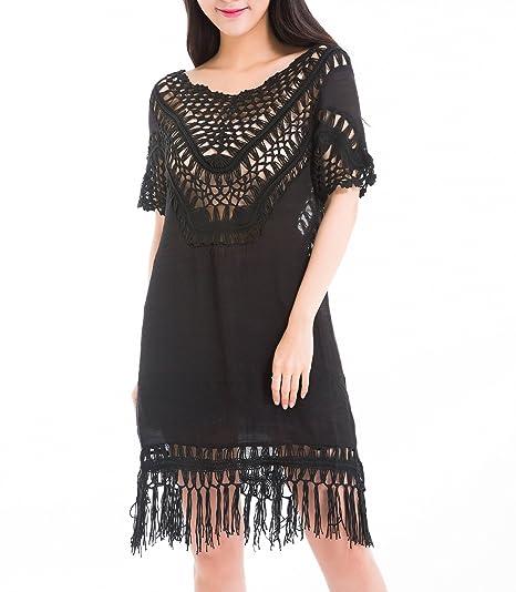 Amazon Ruibao Womens Crochet Dress With Fringes Manual Hook