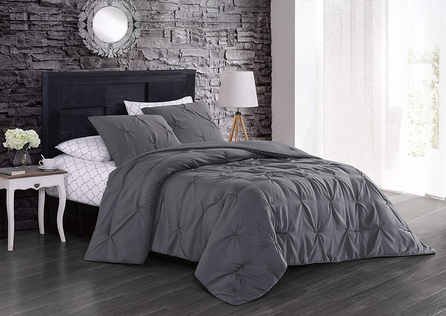 Geneva Home Fashion Flynn Bed in a Bag, King, Grey