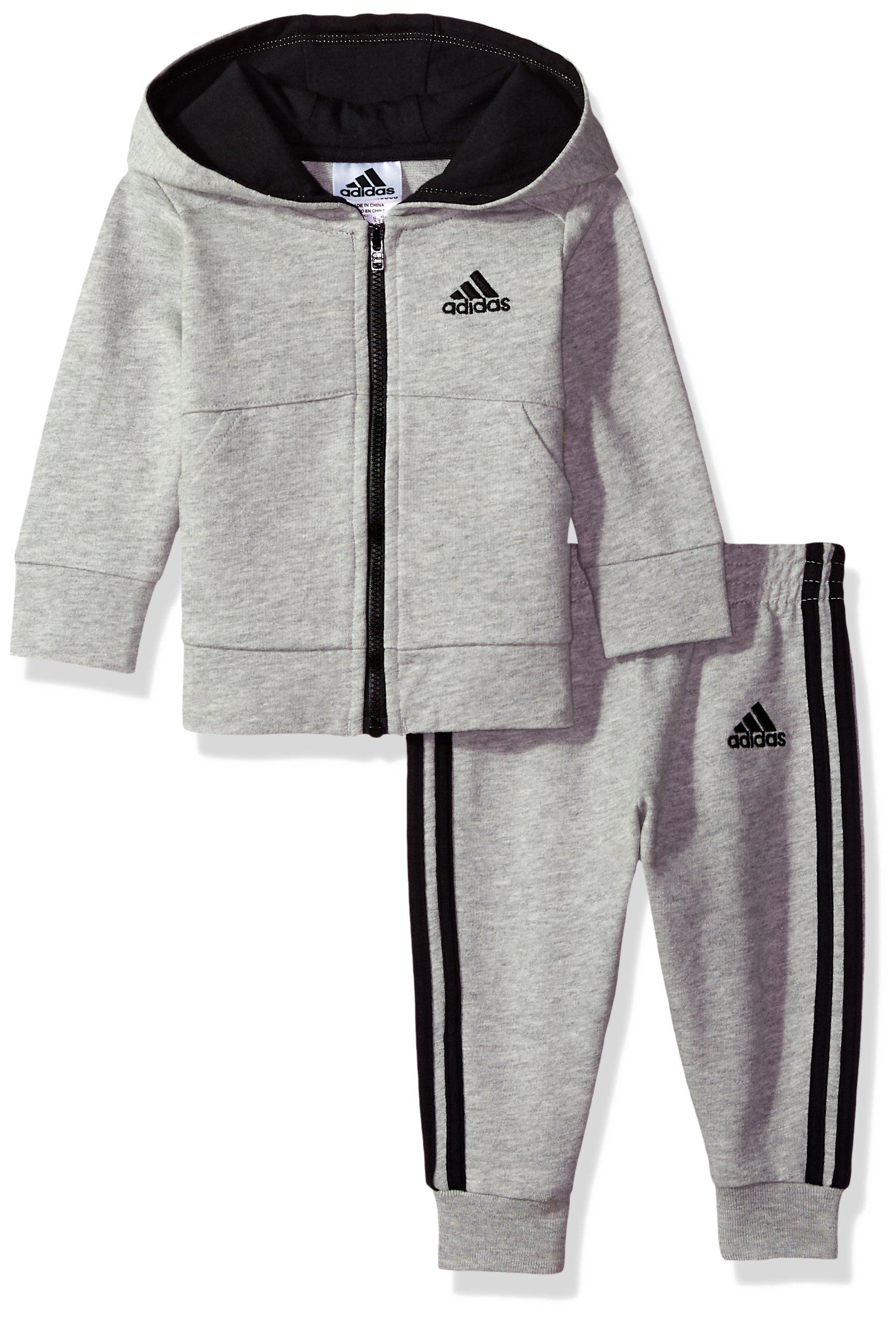 adidas Baby Boys Jacket Set, Grey Heather, 3M