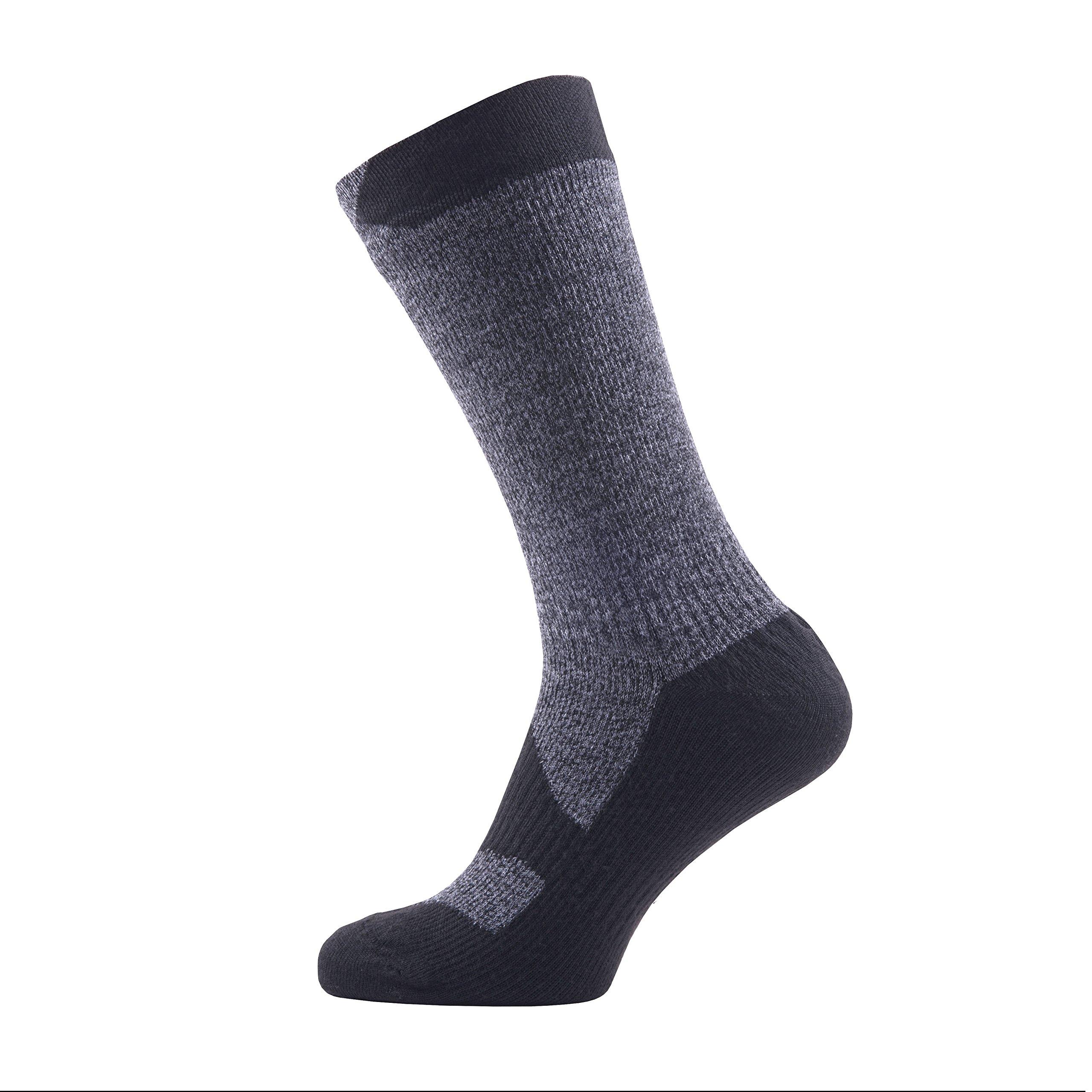 SealSkinz Walking Thin Mid socks, Small - Dark Grey Marl/Black. With a Helicase brand sock ring