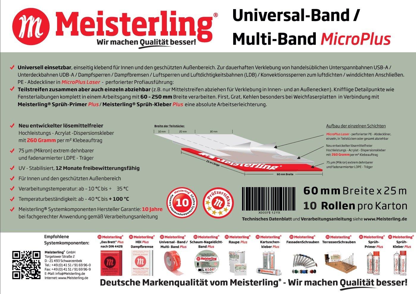 Meisterling® Universal- Klebeband 250 mm Laserperforiert Multi-Band MicroPlus