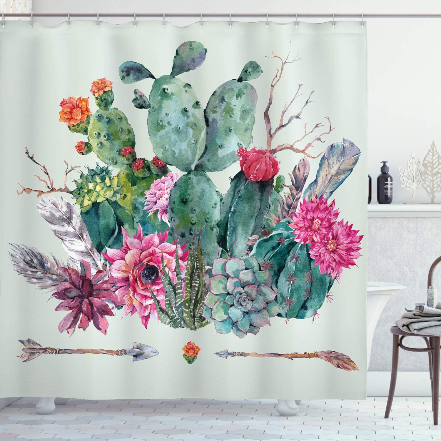 Ambesonne Cactus Shower Curtain, Spring Garden with Boho Style Bouquet of Thorny Plants Blossoms Arrows Feathers, Cloth Fabric Bathroom Decor Set with Hooks, 70