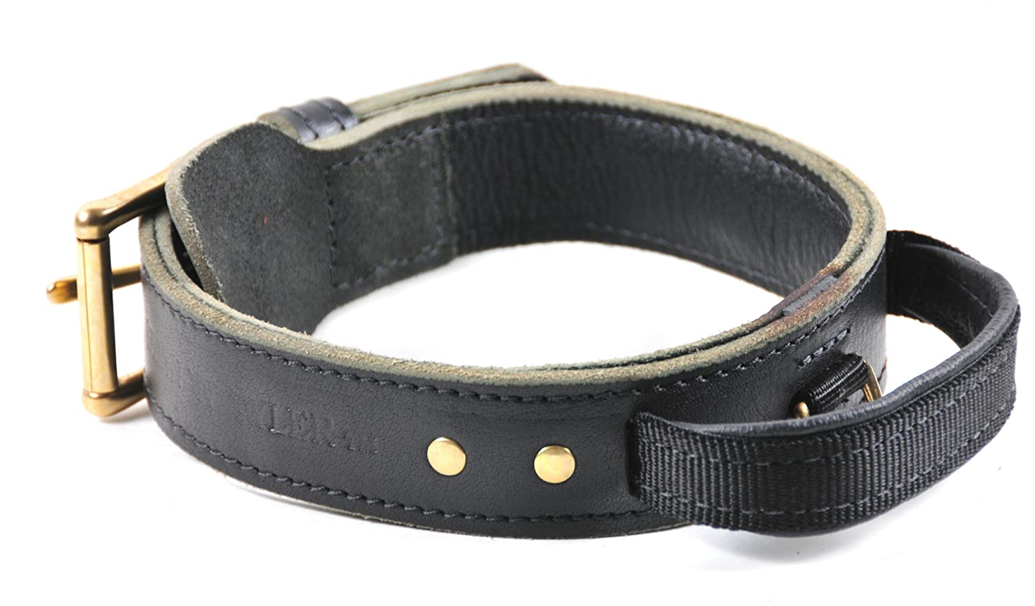 Dean and Tyler SIMPLICITY , Leather Dog Collar with Solid Brass Hardware Black Size 24-Inch by 1-3 4-Inch, Fits Neck 22-Inch to 26-Inch