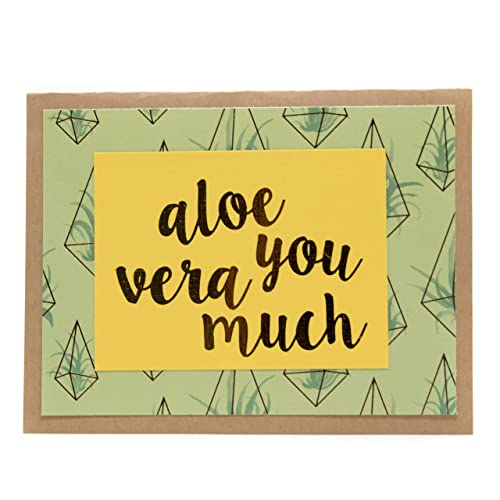 Amazon green yellow handmadealoe you vera much gold foil green yellow handmadequotaloe you vera muchquot gold foil embossed card on aloe m4hsunfo