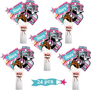 24 Pieces 50's Rock and Roll/ 80's Retro Party Decorations, 50's Sock Hop/1980's Centerpiece Sticks Baby Shower or Birthday Party Centerpiece Sticks Table Toppers Photo Booth Props (50's Rock N Roll)