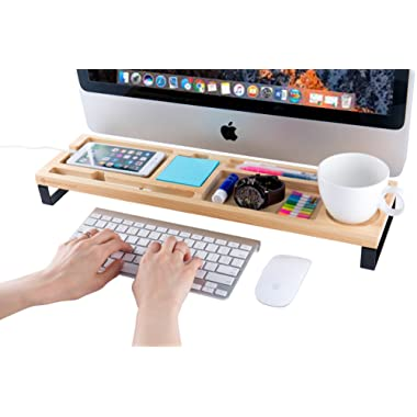 JackCubeDesign Wood Desk Riser Organizer Monitor Desktop Computer Stand Riser Holder Shelf Standing Desk with 7 Compartments for Desk Supplies(22 x 5.79 inches)-:MK398A
