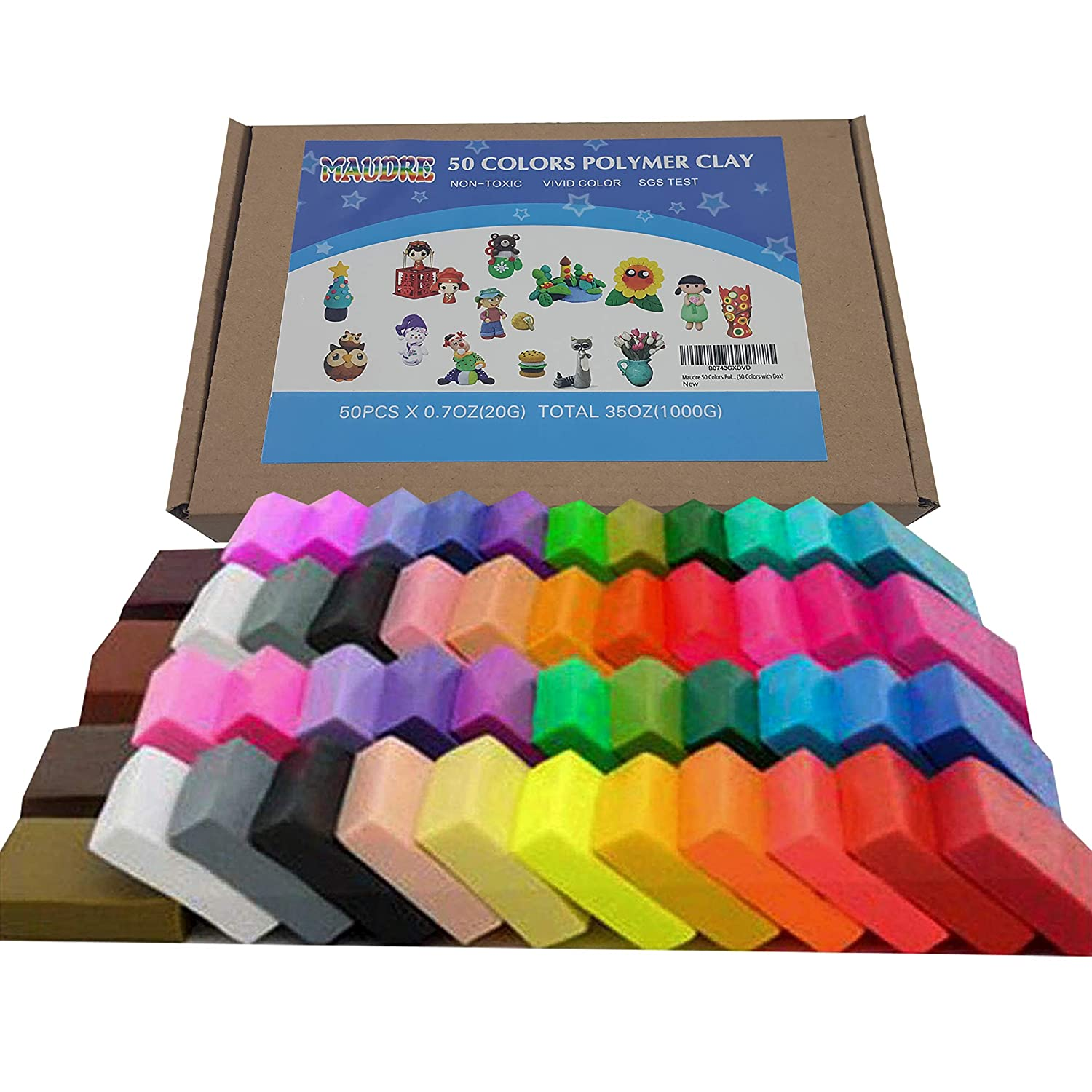 Maudre 50 Colors Polymer Clay, DIY Soft Molding Craft Oven Baking Clay Blocks Birthday Gift for Kids Adult Christmas Gifts(50 Colors with Box)