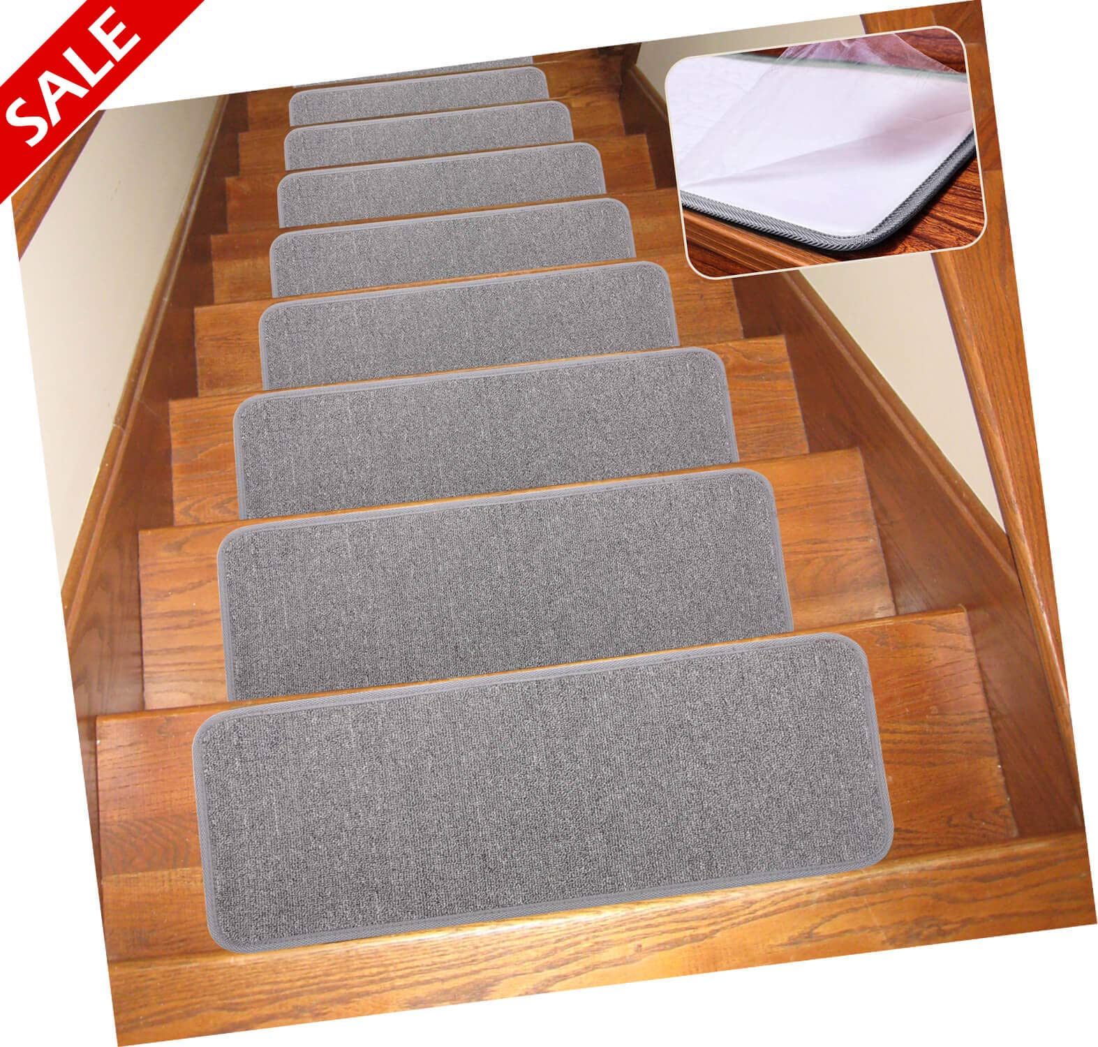 Seloom Carpet Stair Treads Non Slip Indoor Set of 13 Stair Treads Rug/Covers/Mats Grey, 25.5''×9.5'' by Seloom