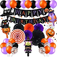 65 Pieces Halloween Birthday Party Decorations Halloween Happy Birthday Banner Hanging Swirls Paper Fan Pumpkin Foil…