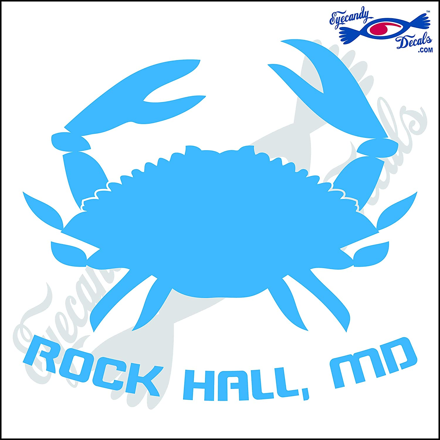 Amazon com eyecandy decals crab with rockhall maryland 6 inch decal olympic blue automotive