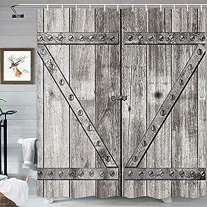MERCHR Rustic Door Shower Curtain, Grey Old Wooden Garage Door Country Farm Style Fabric Shower Curtain for Bathroom, Farmhouse Decor Waterproof Bath Curtain Set with Hooks 69X70 Inch
