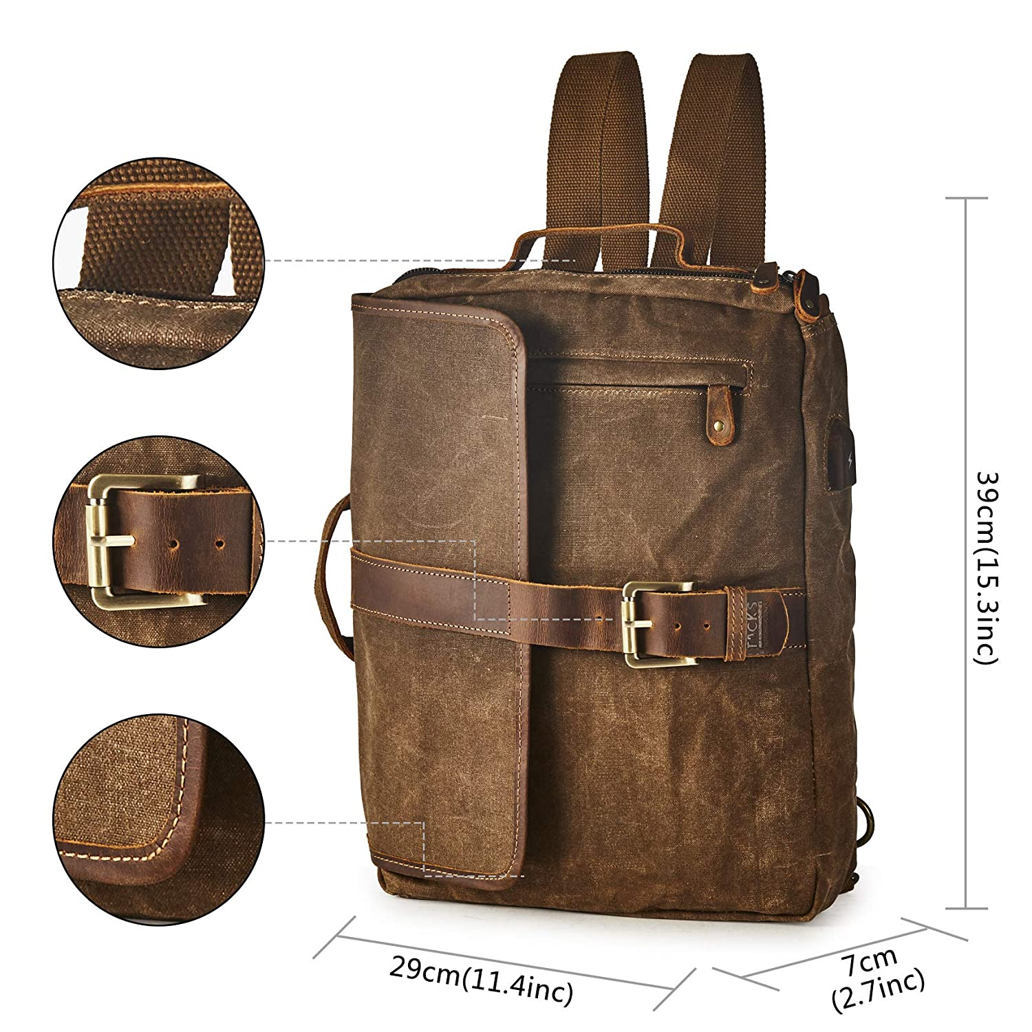 9dfb56113 Amazon.com: BRASS TACKS Leathercraft Men's Waxed Canvas Genuine Leather  Utility Duffel Weekend Work Briefcase 15