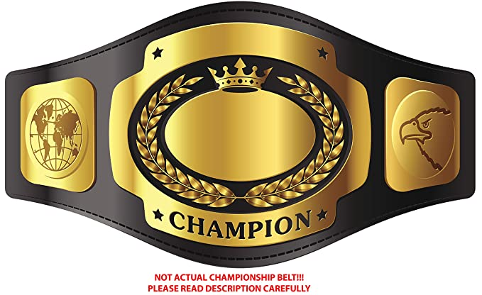 Amazon com stickers gold undisputed champion championship belt golden black yellow vinyl decal sticker two in one pack 12 inches wide home kitchen