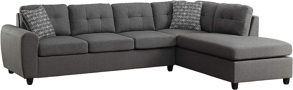 Amazon Com Coaster Home Furnishings Living Room Sectional Sofa Grey Furniture Decor