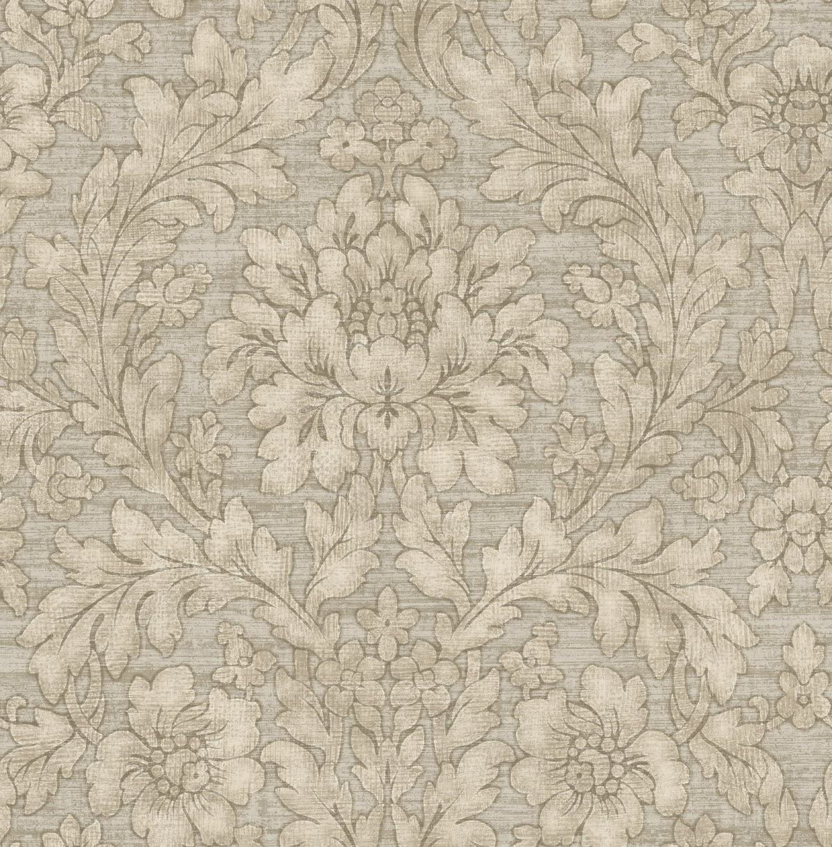 Vintage Floral Wallpaper Damask Arts And Crafts Silver Gray Bronze