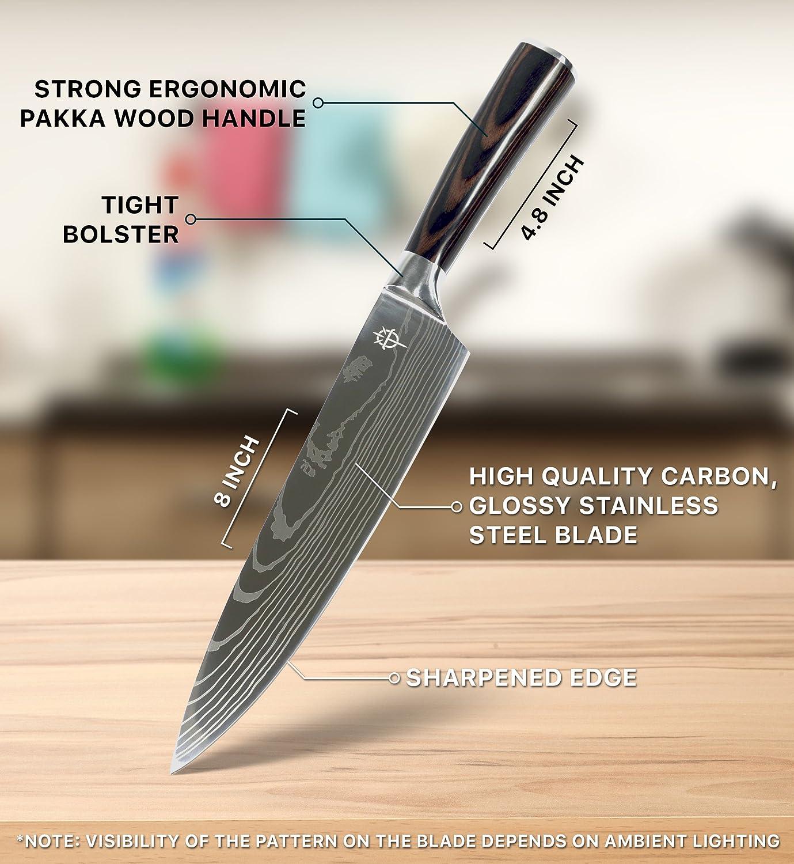 amazon com onitron pro kitchen 8 inch chef knife with high carbon amazon com onitron pro kitchen 8 inch chef knife with high carbon stainless steel and ergonomic handle kitchen dining