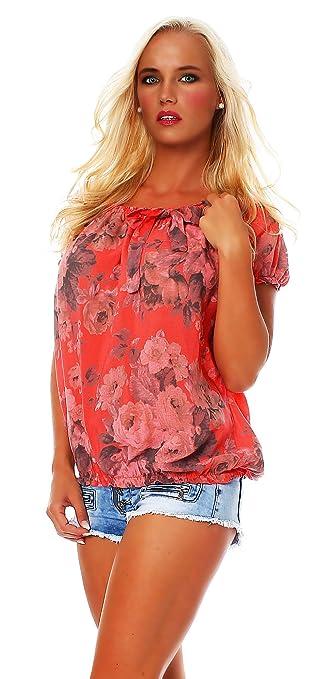 Zarmexx Blusa Para Mujer Top Camisa Floral Camisa de Manga Corta Blusa de Viscosa * Grande Rosa * (Beige, 36-40): Amazon.es: Ropa y accesorios
