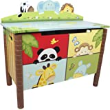 Fantasy Fields - Sunny Safari themed Kids Wooden Toy Chest Toy Box with Safety Hinges | Hand Crafted & Hand Painted Toybox Toy Storage Unit | Child Friendly Water-based Paint