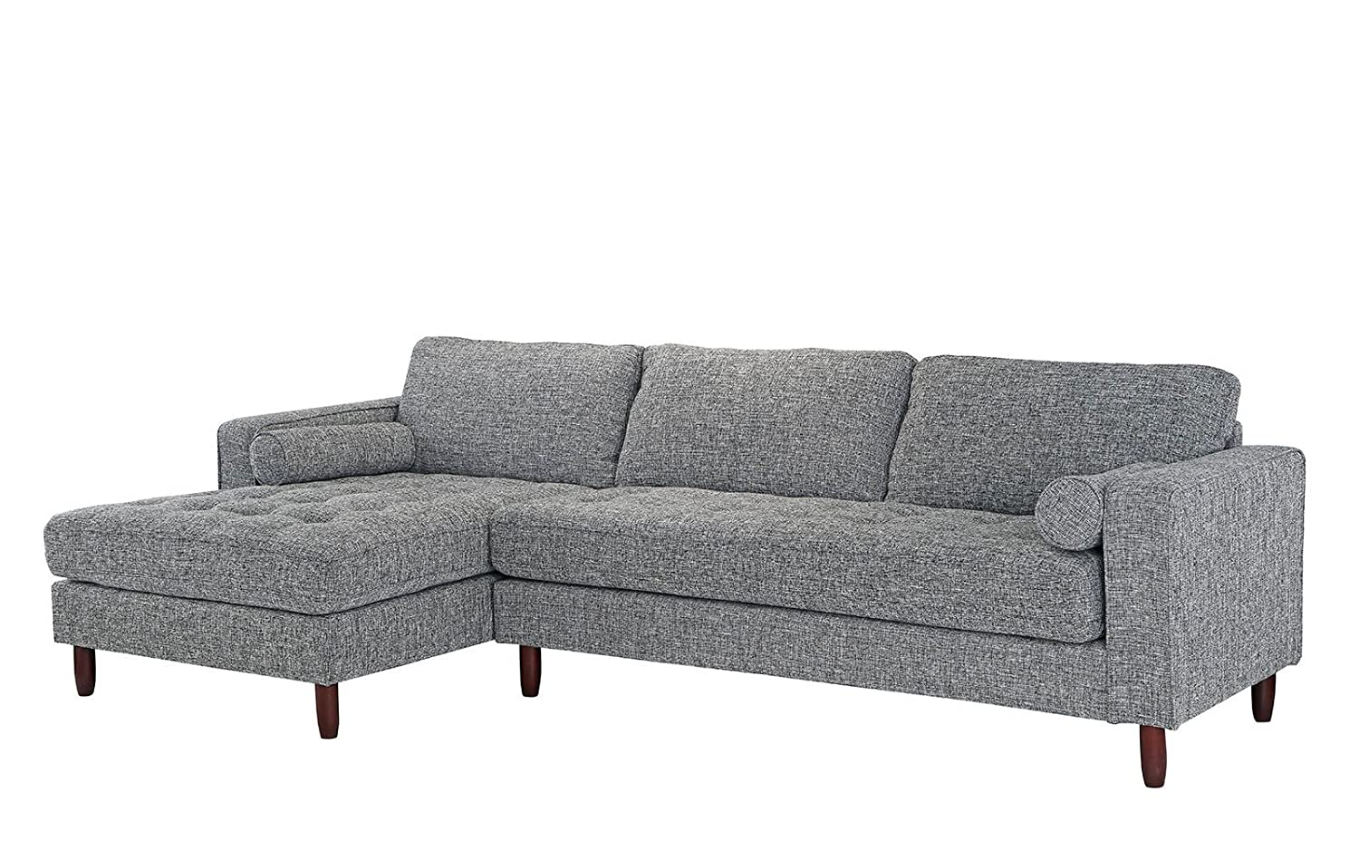 Amazon com divano roma furniture mid century modern tufted fabric sectional sofa l shape couch with extra wide chaise lounge light grey kitchen