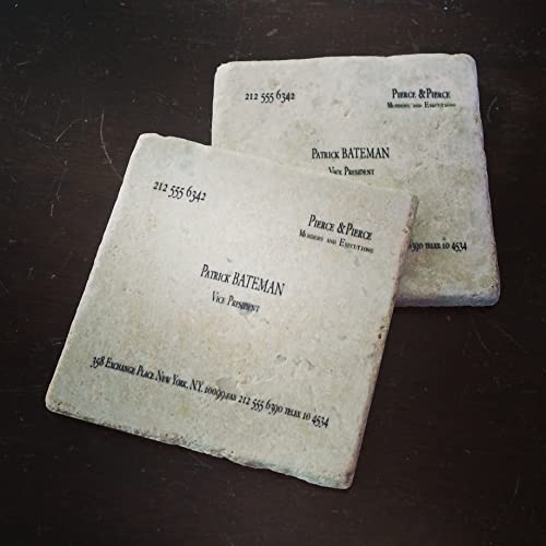 Amazon patrick bateman murders executions business card patrick bateman murders executions business card tumbled marble coaster set of 2 american psycho reheart Images