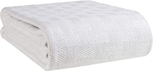 GLAMBURG 100% Cotton Bed Blanket, Breathable Bed Blanket King Size, Cotton Thermal Blankets King Size - Perfect for Layering Any Bed for All Season - White
