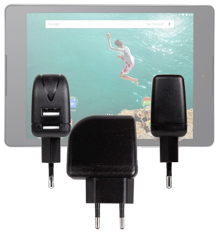 DURAGADGET-Cargador de 2 a USB DURAGADGET-Funda para Tablet táctil Carrefour CT1000, CT1020W CT720 y Touch, Neo2 CT820 (8 GB, Android, doble puerto) USB: ...