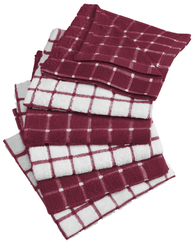 "DII 100% Cotton, Machine Washable, Ultra Absorbant, Basic Everyday 12 x 12"" Terry Kitchen Dish Cloths, Windowpane Design, Set of 6- Wine"