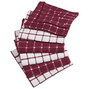 DII 100% Cotton, Machine Washable, Ultra Absorbant, Basic Everyday 12 x 12  Terry Kitchen Dish Cloths, Windowpane Design, Set of 6- Wine