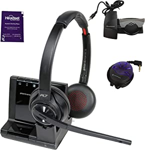 Plantronics Savi 8220 Wireless Headset System Bundle with Lifter, Busy Light and Headset Advisor Wipe