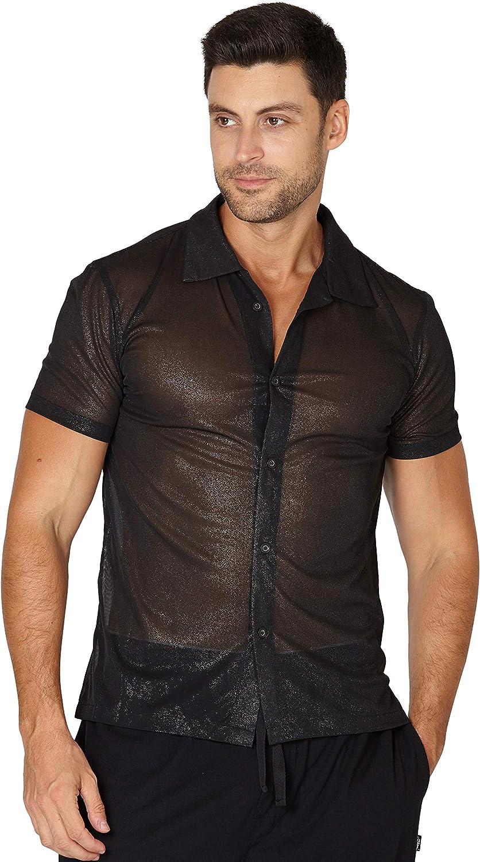 INTIMO Men's Sheer Camp Button Up Top Shirt