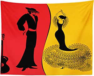 """Lunarable Art Tapestry, Spanish Dancer Silhouettes with Man and Woman in Traditional Clothing, Fabric Wall Hanging Decor for Bedroom Living Room Dorm, 28"""" X 23"""", Vermilion Marigold"""