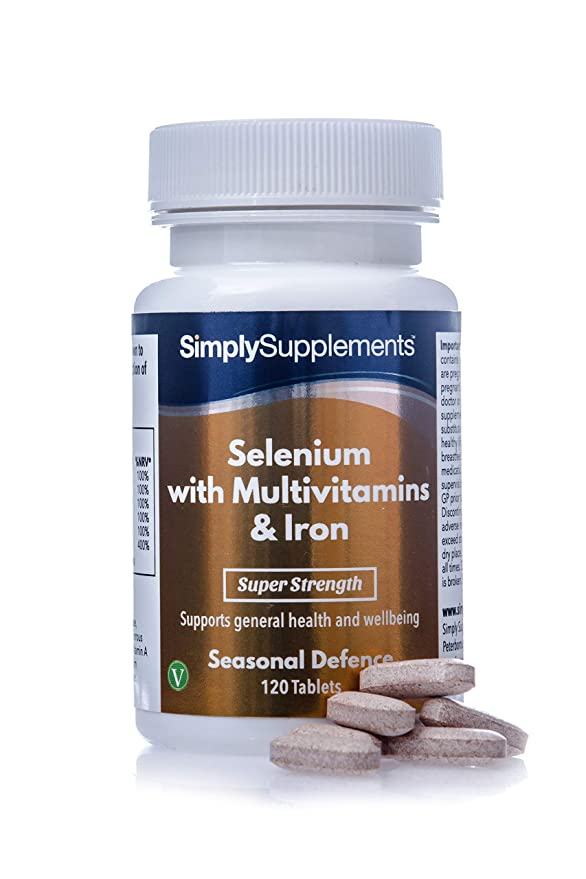 Selenio 220 mcg con Multivitaminas y Hierro - ¡Bote para 4 meses! - Apto para Vegetarianos - 120 Comprimidos - SimplySupplements