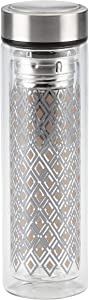 Ayesha Curry Beverageware Glass Water Bottle / Fruit Infuser / Beverage Bottle with Stainless Steel Lid - 14 Ounce, Copper and Silver