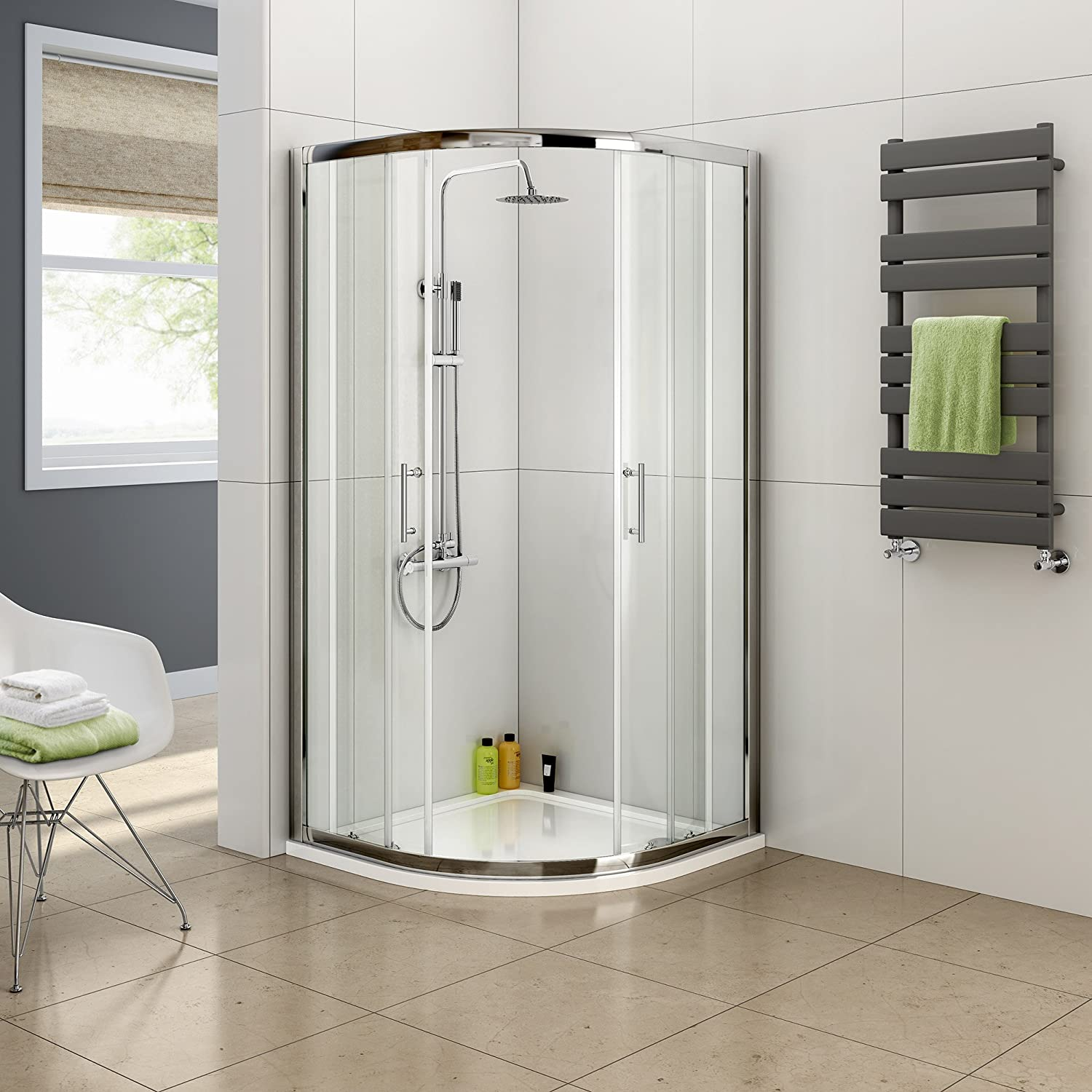 Aica 800 x 800 mm Quadrant Shower Sliding Doors, Glass, Chrome ...