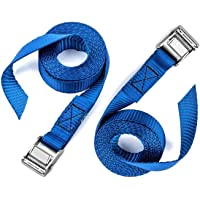 2 PCS of Premium Lashing Straps,VVHOOY 12 Ft Long - Rated 250 lbs - for Roof Racks Moving Canoes and Tie Down Strap,Car Luggage Cargo Lashing Strap for Kayaks Carriers Blue