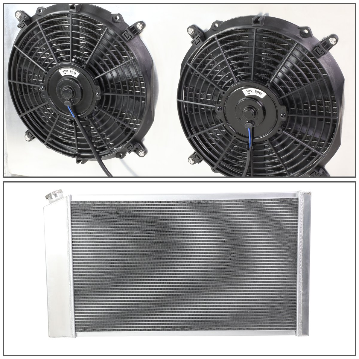 DNA Motoring RA+FS-CHEVYT73-3 3-Row Aluminum Radiator with Fan Shroud