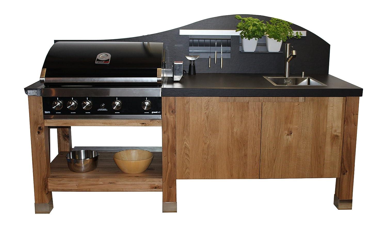 Outdoorküche Mit Gasgrill Kaufen : Luxuriöse outdoorküche mit theke aus naturstein und integriertem