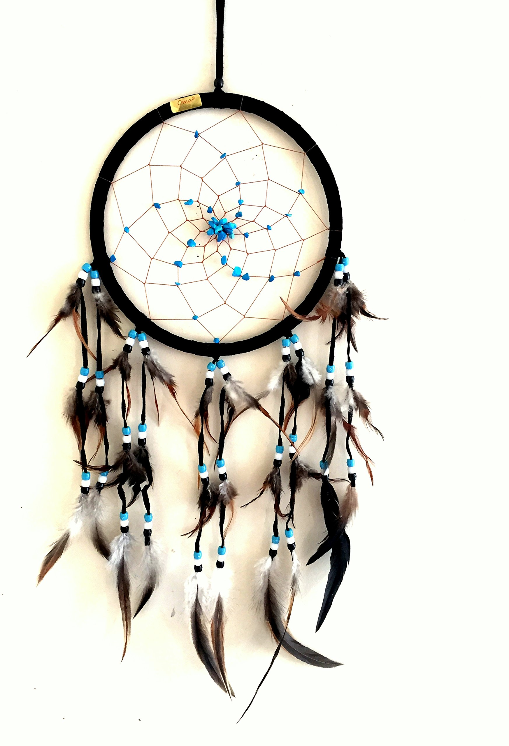 Dream Catcher DreamCatcher - BLACK SUEDE WITH TURQUOISE STONE - Handmade, LARGE SIZE - 28'' Long x 9'' Diameter - OMA BRAND (Black)