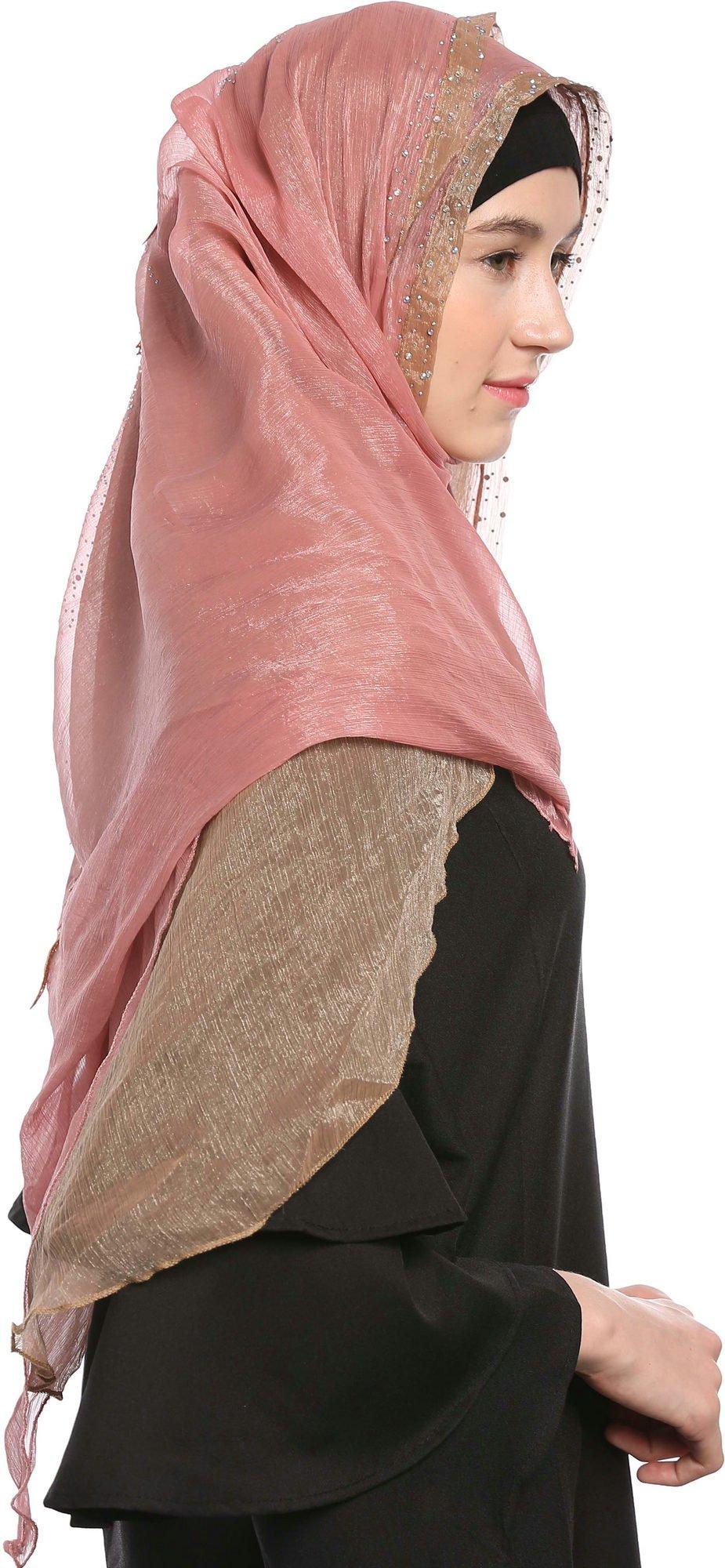 Ababalaya Lace Decorated Wedding Hijab Islamic Hijab,Color3 by Ababalaya (Image #4)