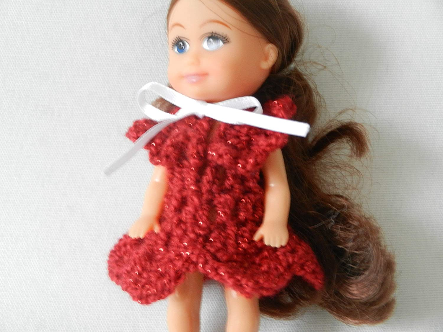 Sparkle Red Doll Dress fits Baby Kelly from Barbie family and other similar size dolls like small Sparkle Girlz